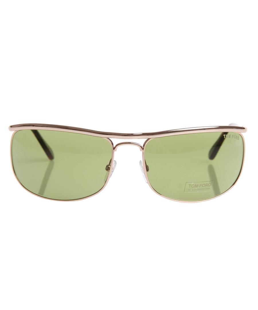 Rose gold-tone & green sunglasses Sale - tom ford