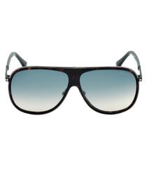 Dark Havana & blue oversized sunglasses