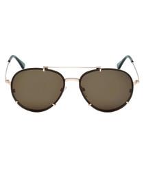 Rose gold-tone & brown sunglasses