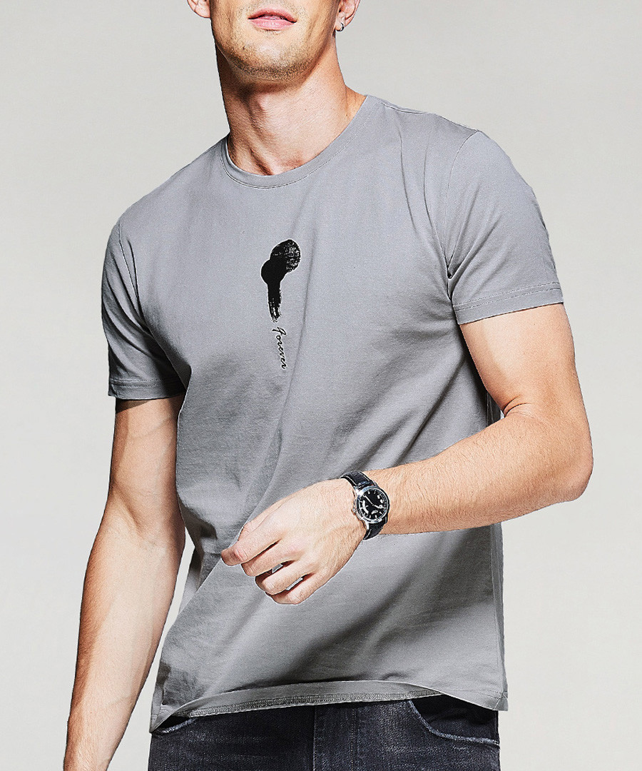 Grey pure cotton print T-shirt Sale - kuegou