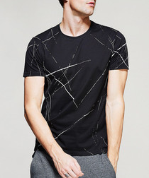 Black pure cotton print T-shirt