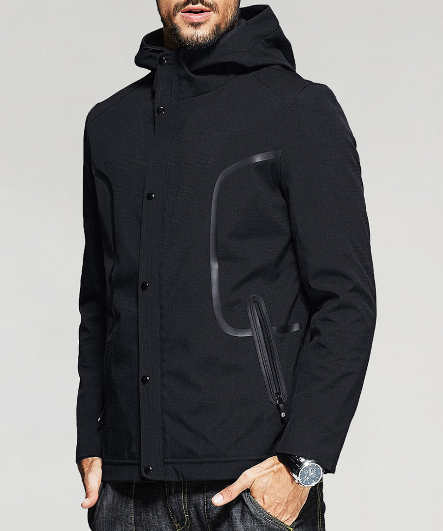 Black zip-up hooded jacket Sale - kuegou
