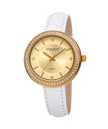 Gold-tone & white leather watch