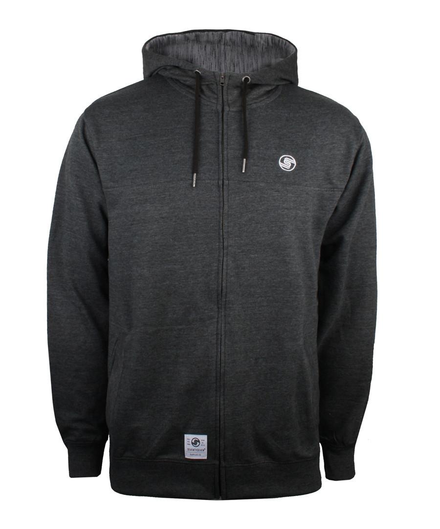 Charcoal cotton blend zip-up hoodie Sale - seventy seven