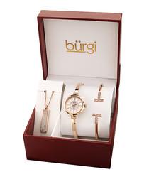 3pc rose gold-tone quartz watch set