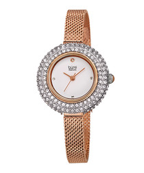 Rose gold-tone steel embellished watch