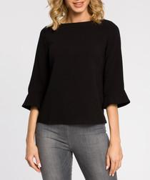Black wool blend 3/4 sleeve blouse