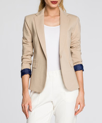 Beige cotton blend jacket
