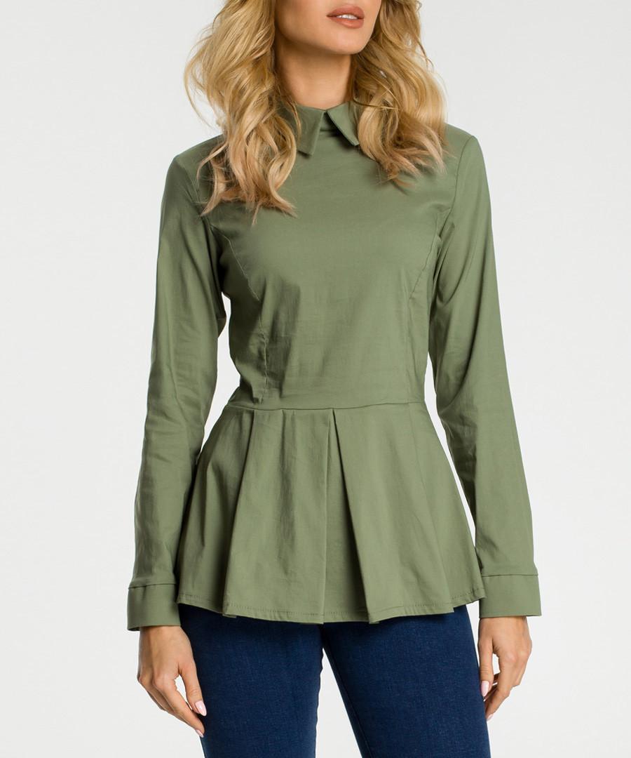 Khaki collar peplum long sleeve blouse Sale - made of emotion