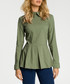 Khaki collar peplum long sleeve blouse Sale - made of emotion Sale