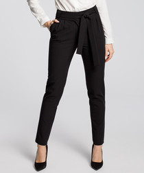 Black tie waist formal trousers