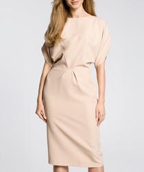 Beige short sleeve pencil dress