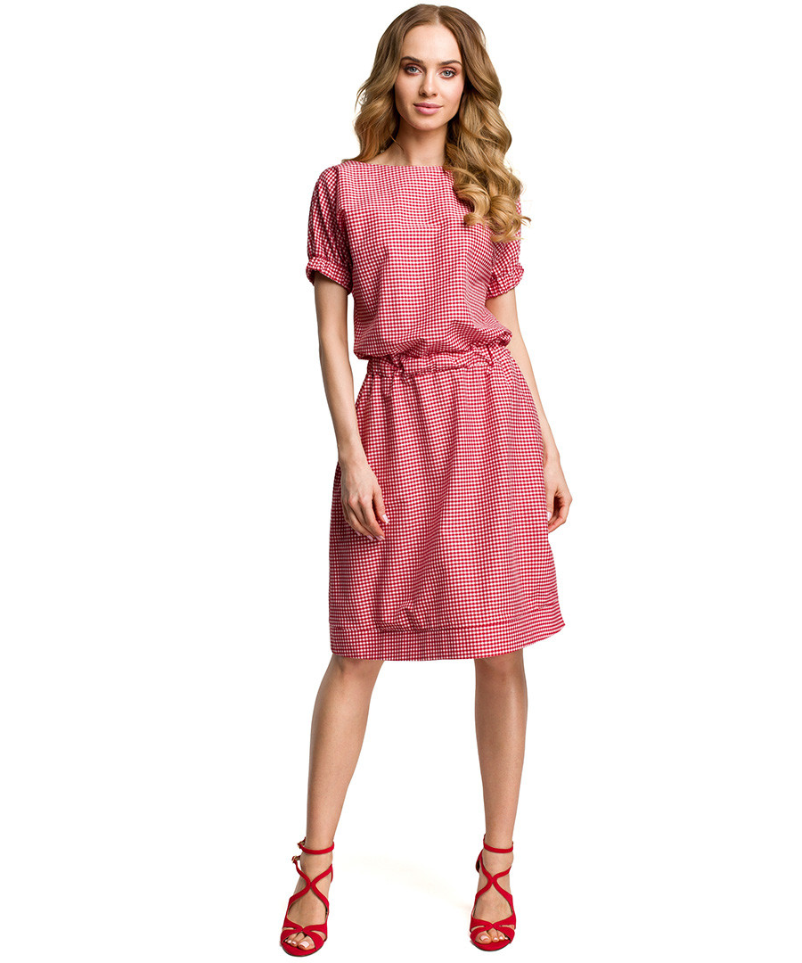 Red short sleeve pencil dress Sale - made of emotion
