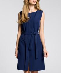 Navy blue sleeveless tie waist dress