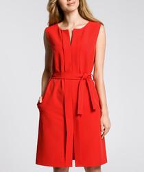 Red sleeveless tie waist dress