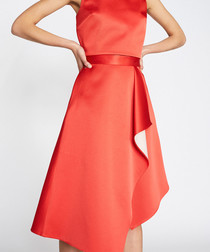 Bramley red asymmetric skirt
