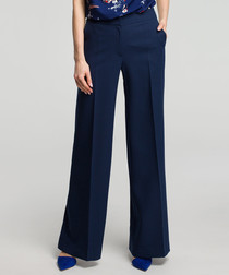 Navy blue formal wide-leg trousers