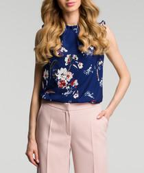 Navy blue floral sleeveless blouse