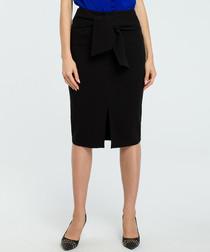 Black wool blend pencil skirt