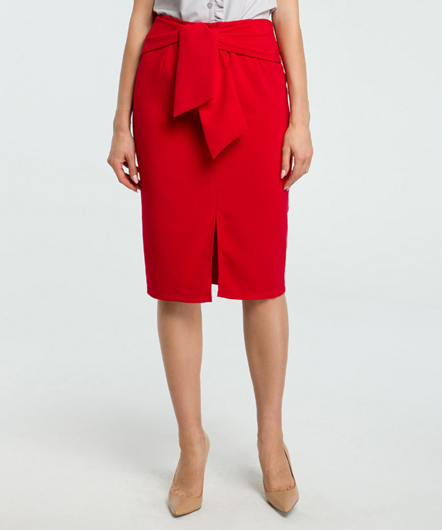 Red wool blend pencil skirt Sale - made of emotion