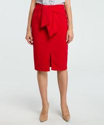 Red wool blend pencil skirt