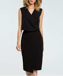 Black V-neck sleeveless pencil dress