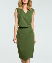 Green V-neck sleeveless pencil dress