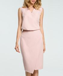Powder V-neck sleeveless pencil dress
