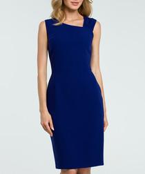 Royal blue wool blend pencil dress