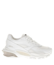 Women's white leather platform sneakers