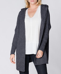 Graphite hooded knit long cardigan