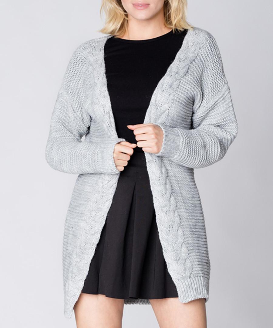 Light grey long knit cardigan Sale - Mosali