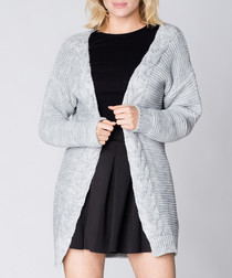Light grey long knit cardigan