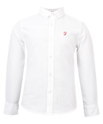 Boys' white cotton long sleeve shirt