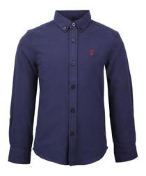 Boys' navy cotton long sleeve shirt