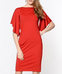 Red waterfall sleeve dress