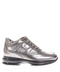 Lead leather sneakers