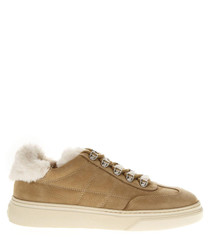 Light brown leather faux fur sneakers