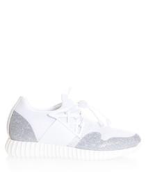 White & silver mesh sneakers