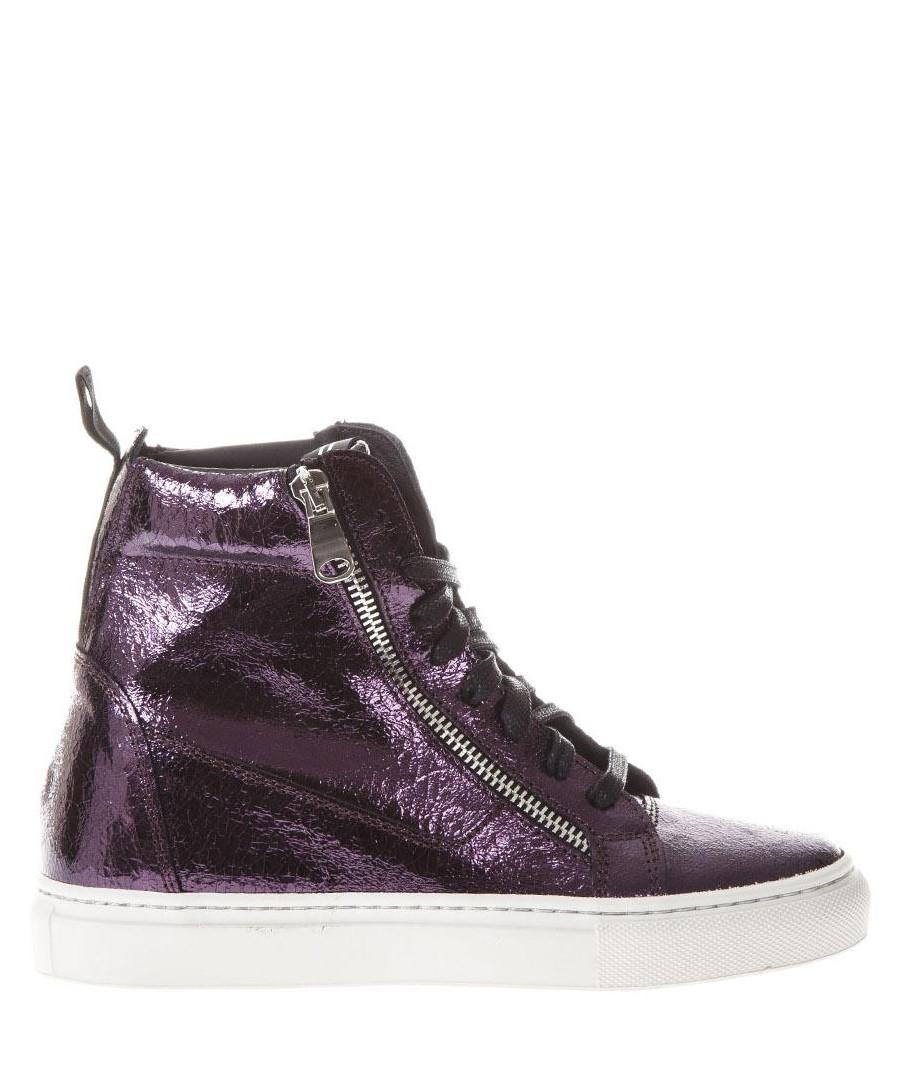 Plum metallic leather high-top sneakers Sale - thoms nicoll