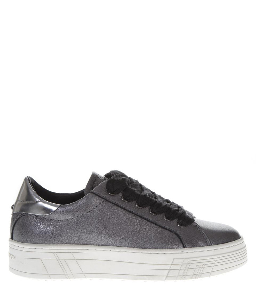 Grey leather lace-up sneakers Sale - crime london