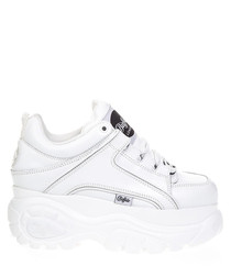 White leather high-top platform sneakers