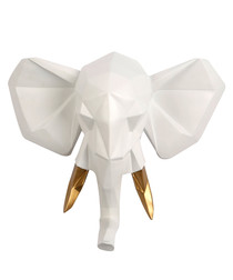 Elephant white & gold-tone wall mount