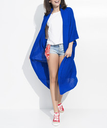 Cornflower blue knit long cardigan