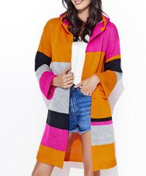 Orange & fuchsia longline cardigan
