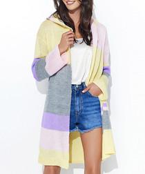 Yellow & powder pink longline cardigan