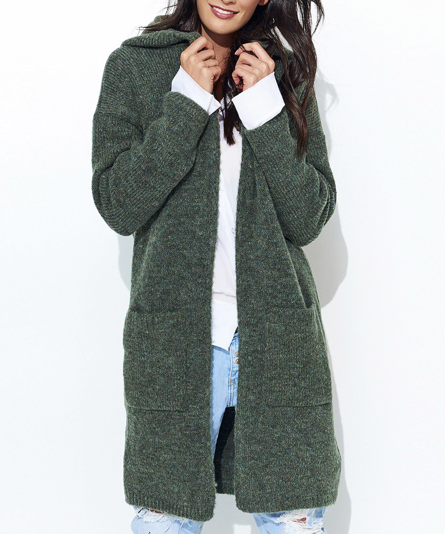 Khaki melange pocket cardigan Sale - numinou