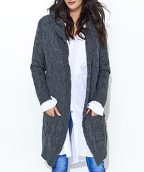 Graphite cable knit pocket cardigan