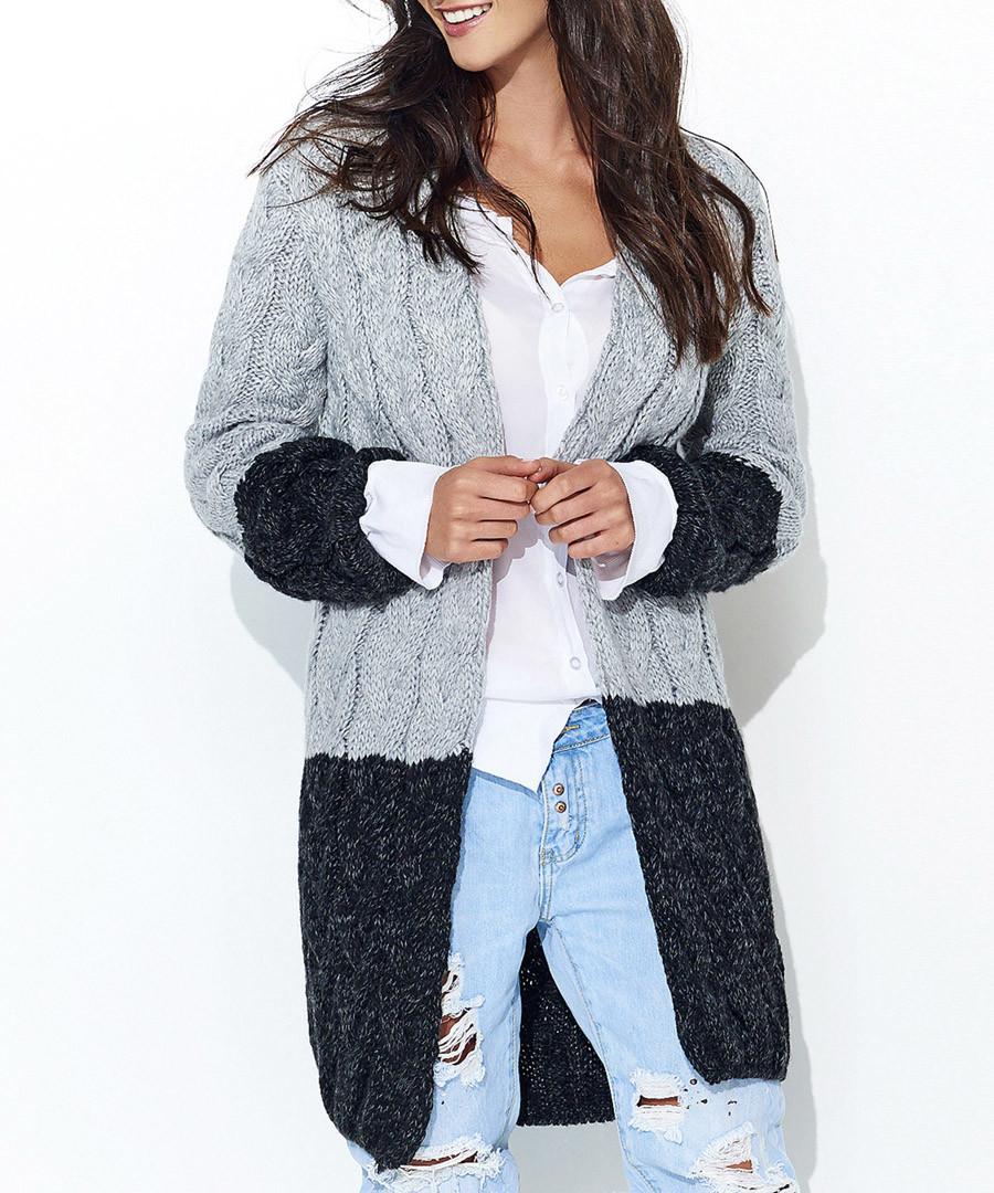 Grey & black contrast knit cardigan Sale - numinou