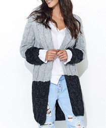 Grey & black contrast knit cardigan